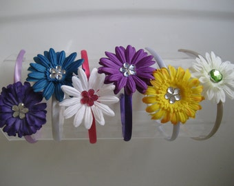 Satin Headband decorated with 3 inch layered fabric flower center sequin