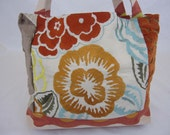 Orange Floral Embroidered Handbag