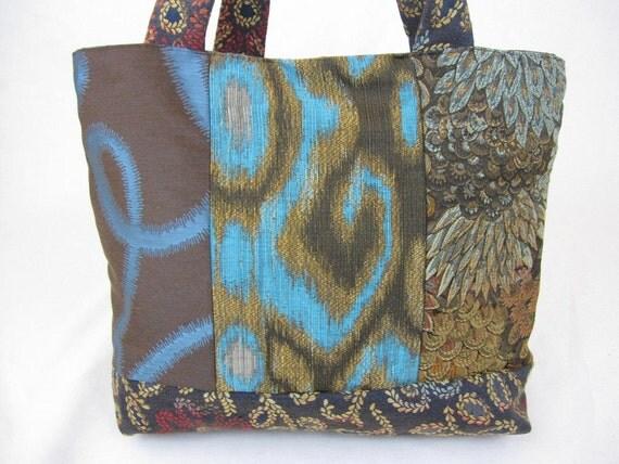 Blue and Brown Handbag Tote Bag