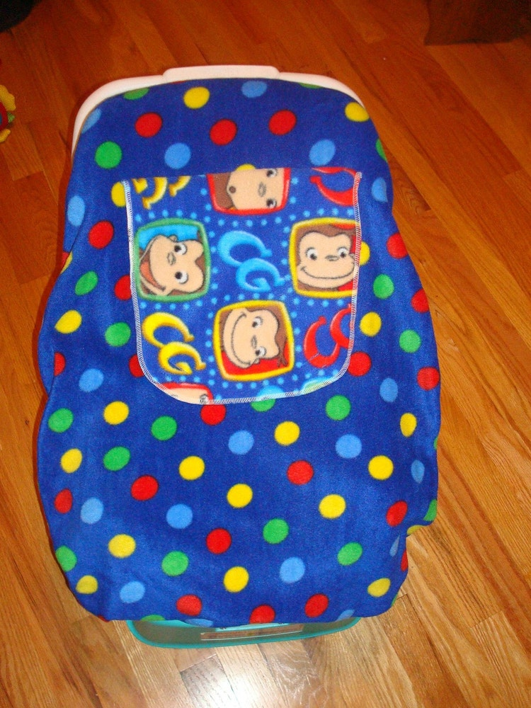 curious george fleece infant car seat cover by nanae08 on etsy. Black Bedroom Furniture Sets. Home Design Ideas