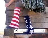 AMERICAN flag Patriotic Red White Blue STARS n STRIPES knit Bell Bottom Leg Warmers