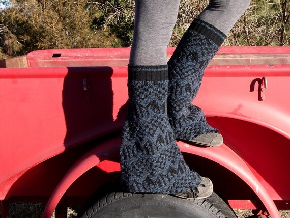 OOAK upcycled Navy & Black knit Sweater LEG WARMER bell bottoms