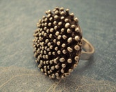 Oxidized Sterling Silver Ring, Big Sister Spotty - FREE SHIPPING -