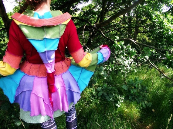 Rainbow Recycled Sweater Fairy  Coat  - RESERVED FOR CHELSEA