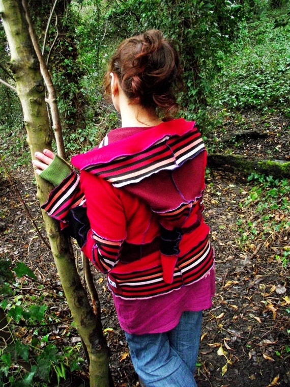 Pixie  Hooded Top - Inspired by the Elven - Red and Black - Wicked Pixie Enchantment