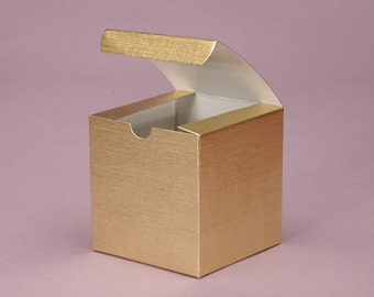 Set of 25 Metallic Gold or Silver 3X3X3 inch Wedding Favor Cupcake Boxes - Bridal Shower Cupcake Boxes - Birthday Candy Boxes - Gift Boxes