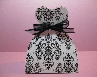 Set of 10 Bride Dress Favor Boxes  - Black and White Damask Wedding -  Bridal Shower Favor Boxes - Dress Favor Boxes