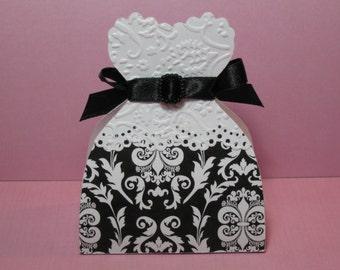 Set of 10 Black White Damask Bride Wedding Dress Gown Favor Boxes - Wedding Favor Boxes - Bridal Shower Favor Boxes