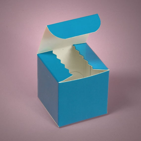 100 3X3X3 Favor Boxes for Weddings Showers Birthdays - Bright Colors - Cupcake Boxes - Aqua - Hot Pink - Orange - Lime Green