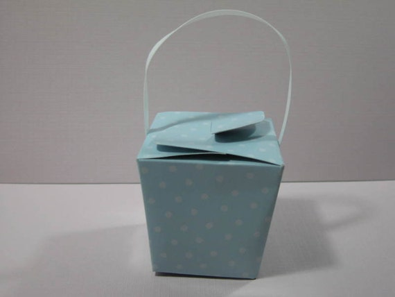 Set of 8 mini chinese take out baby shower or birthday favor boxes polka dots candy boxes gift boxes
