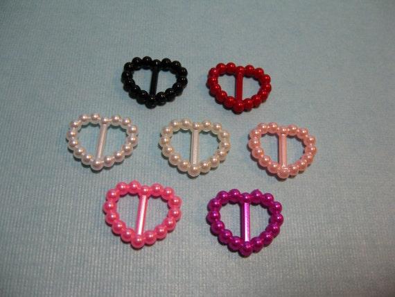 25 Pearl Heart Ribbon Slides Buckles Sliders Embellishments Wedding Invitations Scrapbooking Favors Hair Ribbons