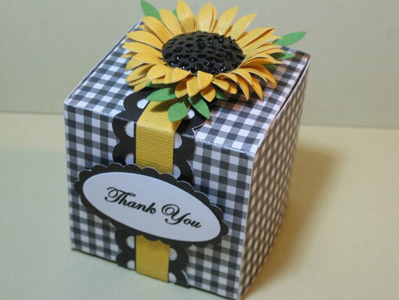10 Yellow Black White Gingham Sunflower Autumn Wedding Favor Box