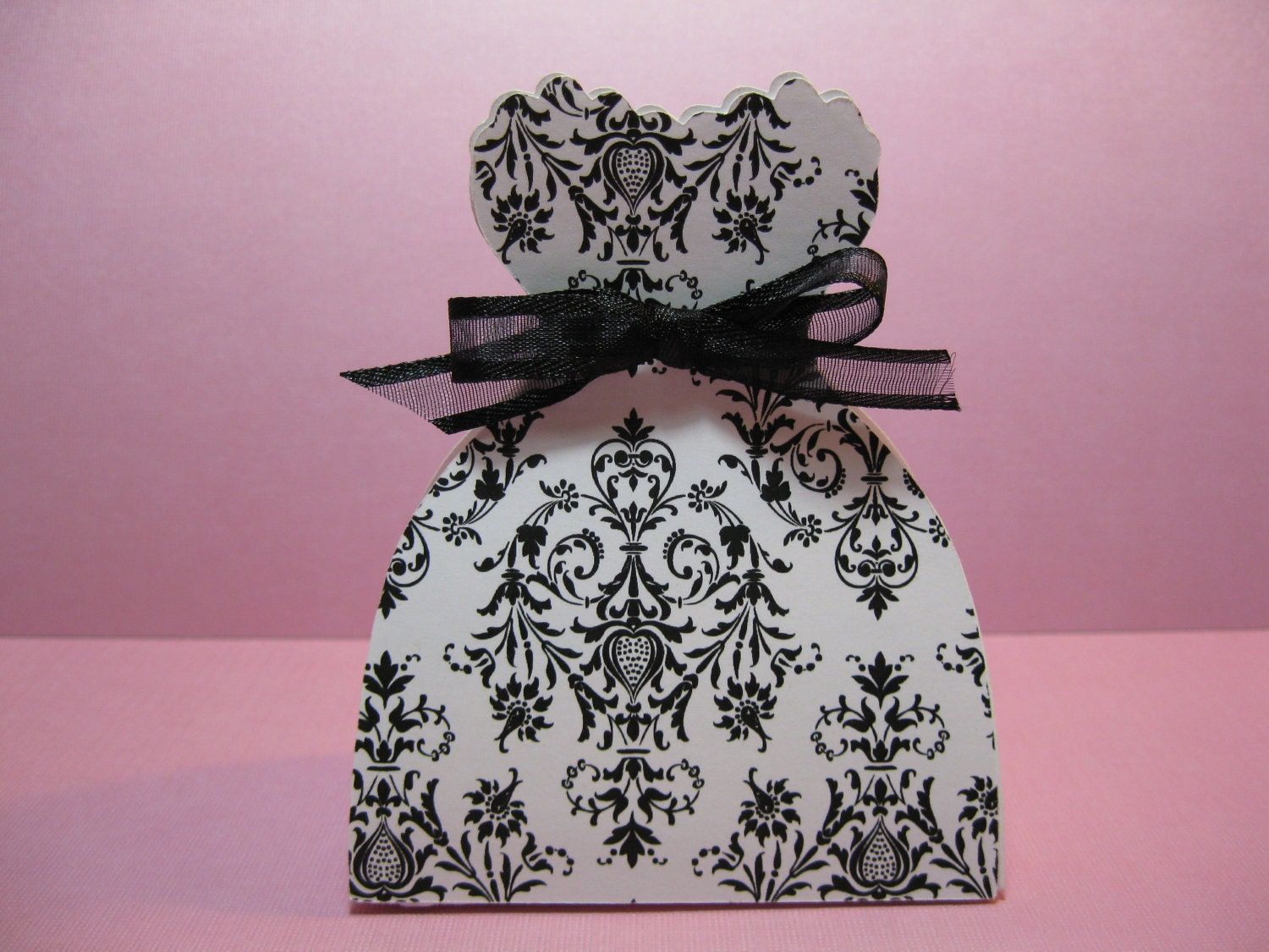 Black And White Damask Favor Boxes : Set of bride dress favor boxes black and white damask