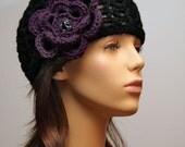 Black Hat with Purple Flower