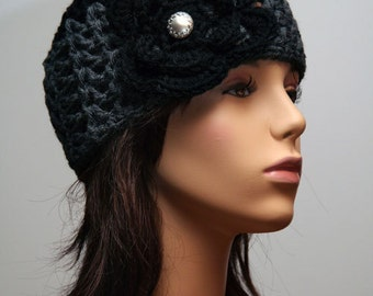 Grey Black Hat with Silver Button