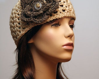 Cream Hat with Taupe Flower