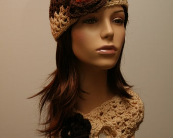 Cream and Brown Hat and Scarf Set