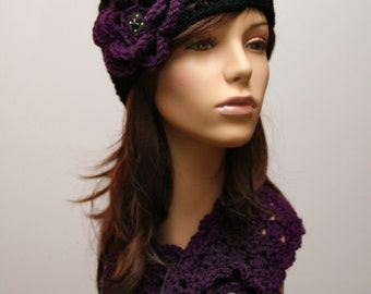 Eggplant Hat and Scarf Set