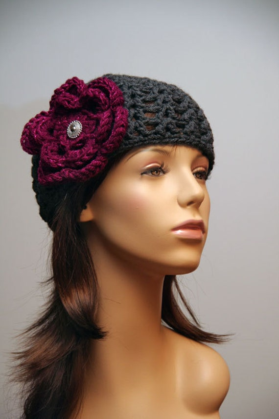 Hat Grey with Plum Sparkle Flower and Vintage Button