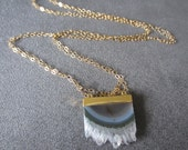 Uruguayan Stalactite and Gold (GF) Long Necklace (geode)