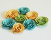 Paper Flowers Embellishments 3D Green Yellow Blue Set of Eight by The Orange Windmill