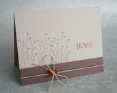 Wedding Card Field of Flowers on Kraft with Red Button by The Orange Windmill