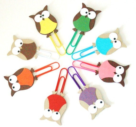 Decorative Paper Clips Owl Paper Clips Multicolored Set of Eight by The Orange Windmill