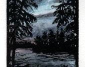 linocut - Northern Lights