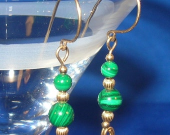Green Malachite Sophistication  14kt Gold-Filled Hand Sculpted Wire Earrings