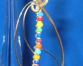 Rainbow Swirl Seed Bead 14kt Gold-Filled Hand Sculpted Wire Pendant