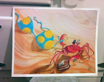PESKY CRAB Bikini Beach digital art print