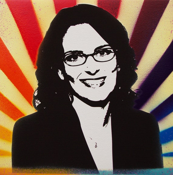 Tina Fey / Liz Lemon Rainbow Sunburst painting