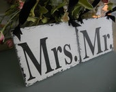 Distressed Mr and Mrs Wedding Sign..You Choose Color of Ribbon..While your Here take a look at some of our other signs:)