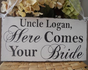 Uncle Here comes your Bride sign/Wedding Signs,REVERSIBLE/ /Thank you, just married..Ring Bearer Signs,Flower girl sign,photo prop sign:)