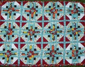 Retro Stars 9-Patch Pattern Quilt -- Handmade with Love