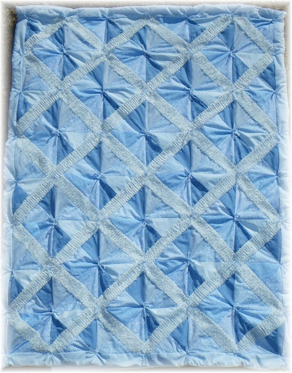 Blue Chenille Lattice Quilt -- Handmade with Love