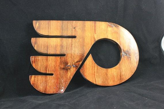 Groomsmen Gift - Stained Philadelphia Flyers Style Letter P Wall Art
