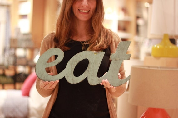 Items similar to sale eat kitchen wall decor three for Kitchen letters decoration