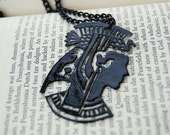 Cleopatra Silhouette Necklace- lacquered, victorian inspired papercut design