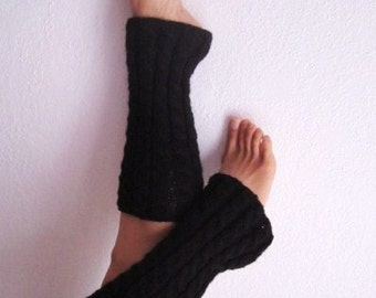 Clearance / Half Price / Black Wool Knitted Cable Leg-warmers - Ready to Ship