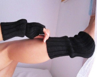 Clearance / Half Price / Black Wool Knitted Leg-warmers, Fingerless Gloves - Ready to Ship