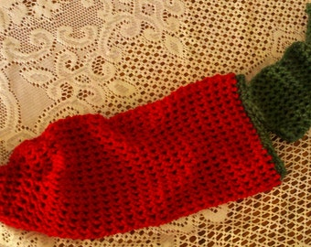 Newborn photo prop chili pepper hat and sock.