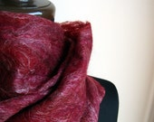 Handfelted burgundy and white alpaca, silk and merino wool Scarf 'Frosted Berries'