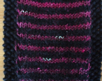 Hand knitted black Noro striped scarf