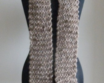 Hand knitted natural brown alpaca scarf