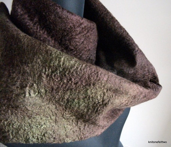 Handfelted brown and green hand dyed mulberry silk and merino wool Scarf 'Otways'
