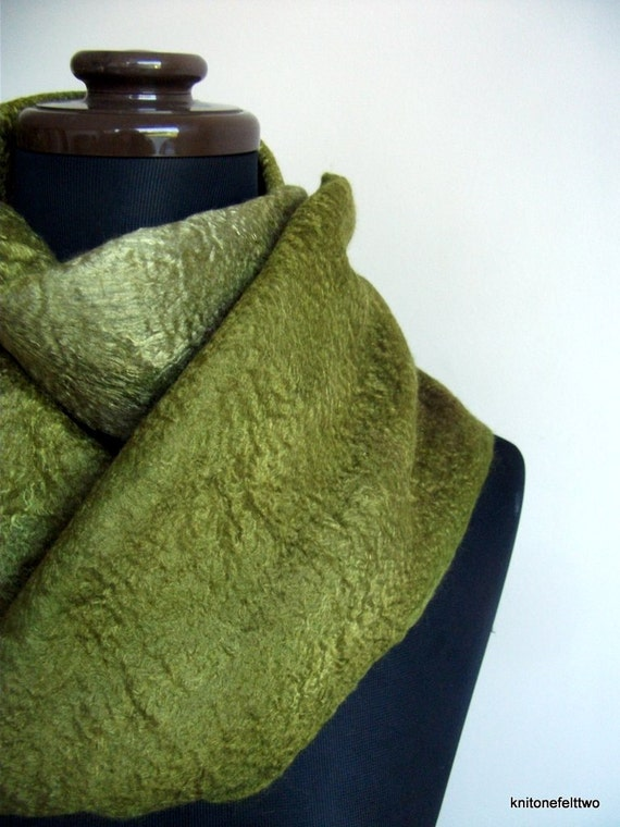 Handfelted moss green hand dyed mulberry silk and merino wool Scarf 'Moss'