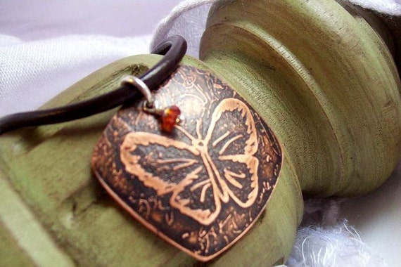 Copper Artisan Made Etched Butterfly Necklace -Take Flight