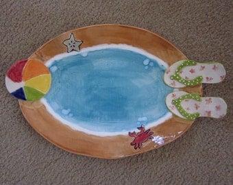 Ceramic flip flop serving bowl