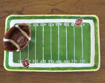 Ceramic Football serving platter and bowl